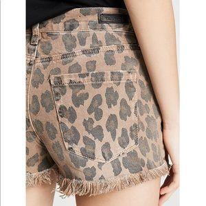Blank NYC Shorts - NEW Blank NYC Catwalk Denim Leopard Cutoff Shorts